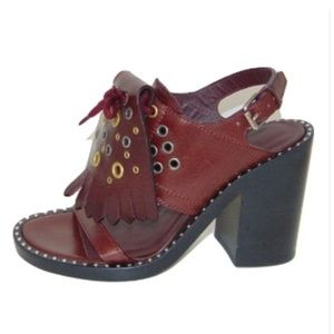 BURBERRY Beverley Sandals Burgundy Leather New